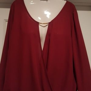 Tops - NWT Ladies Sheer Cross Front Blouse Size S